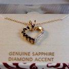 Sterling Silver & 18Kt & Sapphire & Diamond Accent Heart Pendant Chain