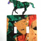 Wild Horse Running Double Light Switch Cover Plate Steel Images USA 6815