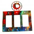 Shining Sun Triple Rocker Outlet Cover Plate by Steel Images USA 52815a