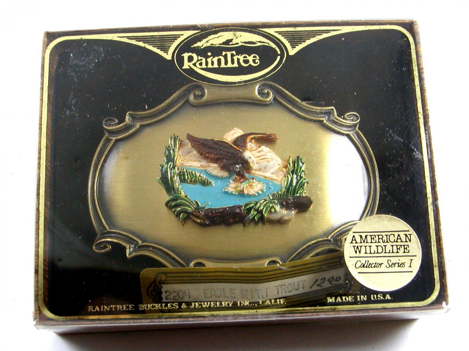 1978 American Eagle Belt Buckle Mint In Box Gold Tag by Raintree 7214