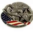 American Hero Silver Star Pewter Belt Buckle Great American Buckle Co 111014