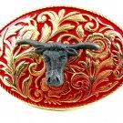 Western Goldtone Red Bull Head Belt Buckle #102113g