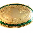 Gold Tone Green Enamel Western Cowboy Belt Buckle Made in USA