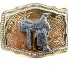 Western Cowboy Rodeo Saddle Made in USA Belt Buckle No. 2443