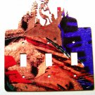 Kokopelli w/ Flute Triple Switch Cover Plate by Steel Images Made in USA 021915E