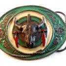 1991 Siskiyou Native American Cow Skull Enameled Belt Buckle