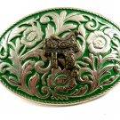 Western Cowboy Silvertone Green Saddle Belt Buckle #102113