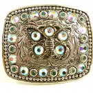 Ladies Western Silverplated Pewter Rhinestone Butterfly Belt Buckle 11072013
