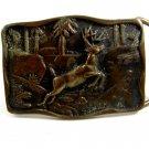 Brass Buck Deer in the Woods Running Belt Buckle #102213