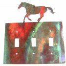 Larger Running Horse Triple Light Cover Plate Steel Images Made USA 42415e