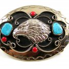 Handcrafted Western Cowboy Eagle Coral Turquoise Belt Buckle USA