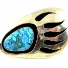 Handmade Tribal Turquoise Clawrple Belt Buckle Signed BC 110614