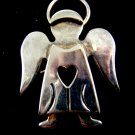 Silvertone Angel Heart Brooch / Pendant by Best 8614