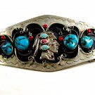 Huge Southwest Handcrafted Native American Coral Turquoise Belt  Buckle