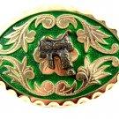 Western Silvertone Green Saddle Belt Buckle #102113d