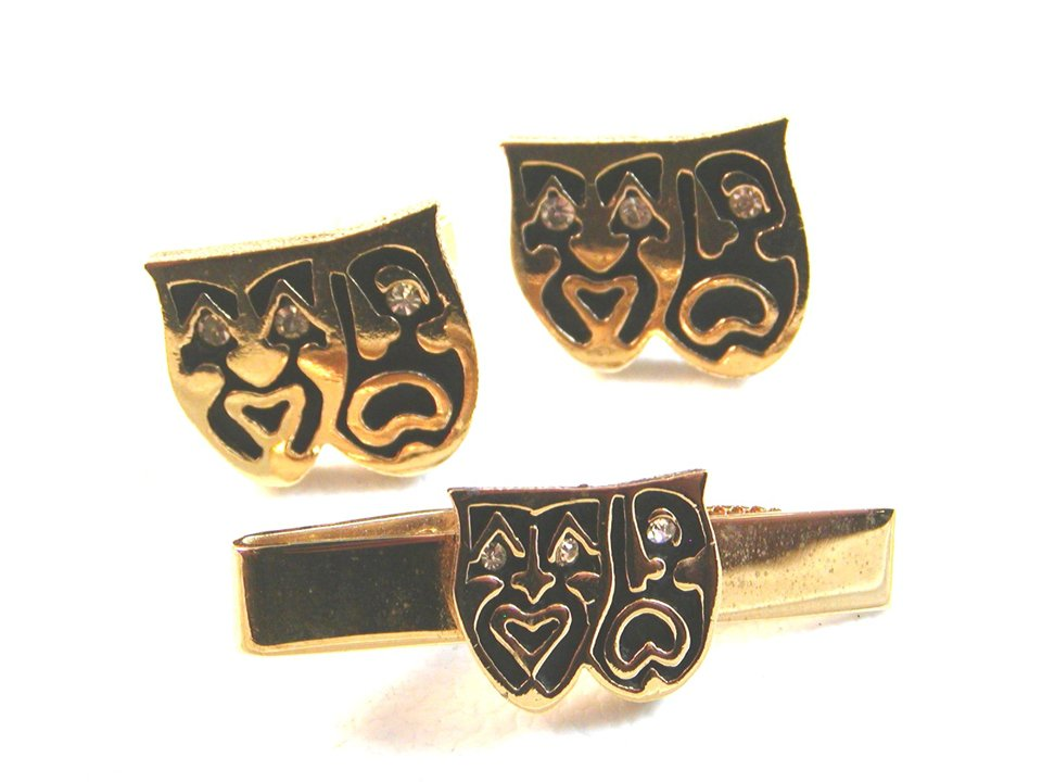 Comedy Tragedy Theatre Cufflinks & Tie Clasp by Swank