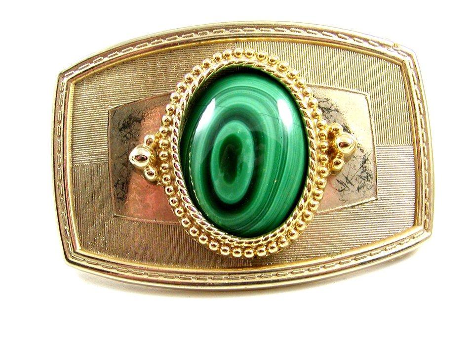 Western Cowboy Silvertone / Goldtone Green Belt Buckle 10272013