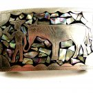 Mexican Silvertone & Abalone Man & Horse Belt Buckle 12022013