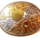 Crumrine Harry Gist Signature Collection Entwined Hearts Belt Buckle