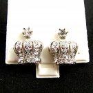 Fancy Crown CZs Pierced Studs Earrings 12092013c