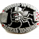1995 Sworn To Fun Loyal To None Spider Gambling Cards Belt Buckle
