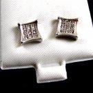Silvertone 9 CZs Pierced Studs Earrings 12092013tp