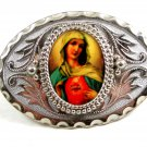 Sacred Heart of Mary Belt Buckle Unmarked