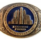 1986 Travis Collectors Society Texas Sesqicentennial Houston Proud Belt Buckle