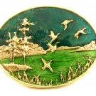 Flying Ducks Lake Enameled Belt Buckle Unmarked 092614
