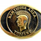 1978 Manticoke Area Trojans Brass Belt Buckle by BTS Made USA 092914