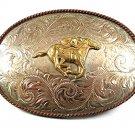 German Silver Horse Racing Belt Buckle By MONTANA SILVERSMITHS 112217