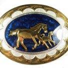 Western Cowboy Horse Silvertone Blue Belt Buckle by Silver Strike 111015