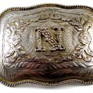 Mexican Alpaca Silvertone Initial / Letter N Belt Buckle 04228014 Not Signed
