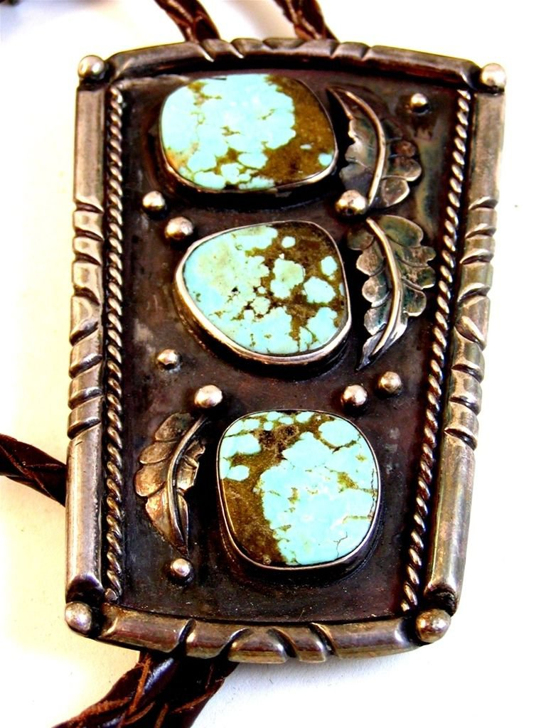 Huge Vintage Signed L7 Native American Sterling Silver Turquoise Bolo 008617