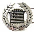 Vintage Cadillac Emblem Flag Belt Buckle By Famous Stars Straps 71315