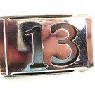 Silvertone Lucky Big Number 13 Halloween Web Style Belt Buckle 82217