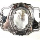 Vintage Silver Tone Western Abalone / Mother Pearl Belt Buckle 72816