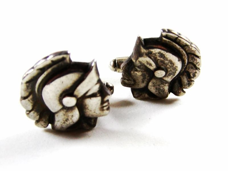 1930's - 1950's Sterling Silver Roman / Greek Helmet Cufflinks by HAYWARD 12515