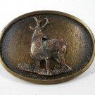 1960's - 70's Buck Deer Brass Belt Buckle Made In USA 11116
