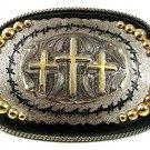 Cowboy Western 3 Crosses Christain Buckle By SILVER STRIKE 52517