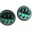 Mid Century Modern 1950's Enameled Copper Musical Notes Cufflinks 73017
