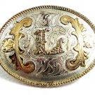 Vintage Cowboy Western Mexican Alpaca Silver Initial L Belt Buckle 72517