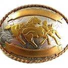 Vintage Cowboy Western Horse Bull Dogging German Silver Belt Buckle 41117