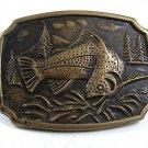 1978 Fish Spotted Trout Solid Brass Belt Buckle By BTS USA 10817