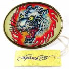 Angry White Tiger In Flame Belt Buckle By ED HARDY 33116a w/ Tag