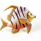 1950's -60's Gold Tone Pink Black Angel Fish Brooch By WEISS 102416