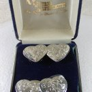 4 Western Rodeo Silvertone Heart Button Covers by MONTANA SILVERSMITHS 3116