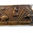 Vintage 1985 Kansas Wildlife Federation Belt Buckle #613/1000