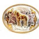 Vintage Silver & Gold Tone Western Rodeo Horse Belt Buckle