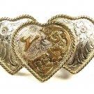 Vintage Silvertone Ladies 3 Heart Initial V 2 Tone Belt Buckle by ADM 101015